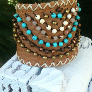 Brown Beaded Leather Turquoise Cuff Bracelet