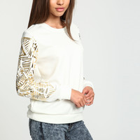 FUTURISTIC GOLD FOIL CREWNECK SWEATER