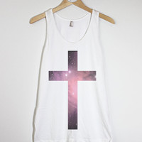 Space Pattern Cross - American Apparel Unisex  Fine Jersey Tank Top