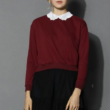 Simple Wine Top with Crochet Collar Red S/M