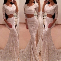 Long-sleeved lace two-piece dress BV1011D
