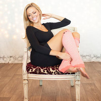 BLACK FRIDAY Coral and Chevron Button Leg Warmers