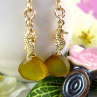 Yellow chalcedony golden sea horse earrings