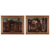 Pair of Paintings Depicting Architectures