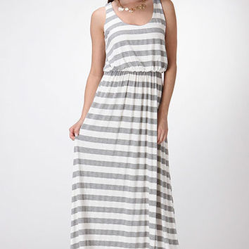 Heather Grey Stripe Maxi Dress