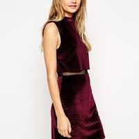 ASOS Velvet Crop Top Mini Dress