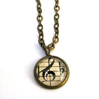 Treble Clef Music Pendant Mini Autumn Necklace Brass Back to School Pendant