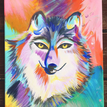 """16""""x12"""" Colorful Wolf Original Acrylic Painting"""