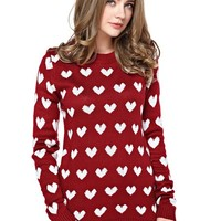 TopStyliShop Women's Full Heart Pattern Red Sweater D1126