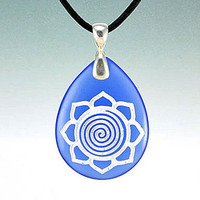 Spiral Lotus - Etched Blue Glass Pendant - Purity of Mind, Body & Soul