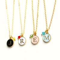 Personalized Initial Necklace BirthStone necklace, Everyday Necklace best friend necklace bridesmaid bridal wedding jewelry christmas gift