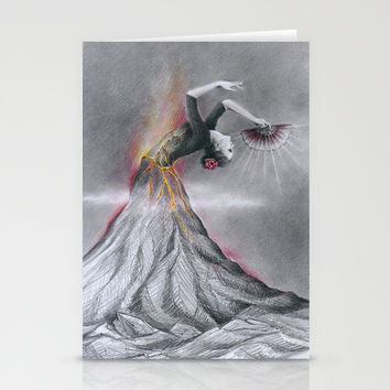 Dancing Volcano Stationery Cards by EDrawings38