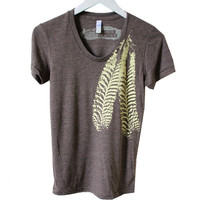 Pale Yellow Feather design printed on Cocoa Tri-Blend Tee handprinted by Blonde Peacock
