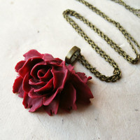 Oxblood Rose Necklace. Flower Pendant Necklace, Resin Flower Necklace, Resin Floral Jewellery, Vintage Inspired. Long Necklace.