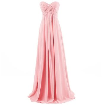 Dresstells Sweetheart Bridesmaid Chiffon Prom Dresses Long Evening Gowns for Juniors Size 6 Pink