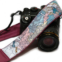 World Map Camera Strap, dSLR Camera Strap, SLR, Nikon, Canon Camera Strap, Men, Women Accessories