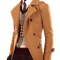 Men Brown Double-Breasted Buttons Wool Blend Coat M/L/XL/XXL@X1410NH12S5F05bro
