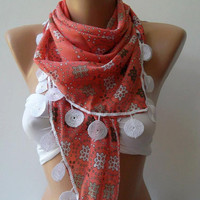 ON SALE   Scarf  Coral Pink Cotton Sale Scarf Shawl