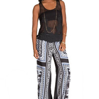Up To Instinct Scarf Print Palazzo Pants - Black + Blue