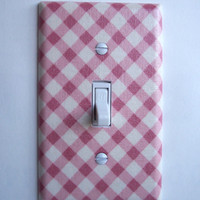 Pink & Cream Lattice Single Toggle Switchplate
