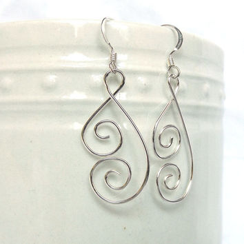 Ornate Spiral Silver Wire Earrings, 925 Silver Womens Earrings, Spiral Butterfly Wing Earrings