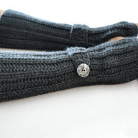 Arm Warmer Fingerless Glove Charcoal Gray