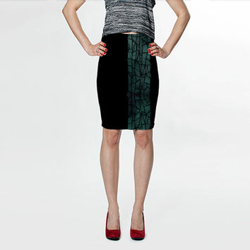 Turquoise Crystal Fitted Skirt