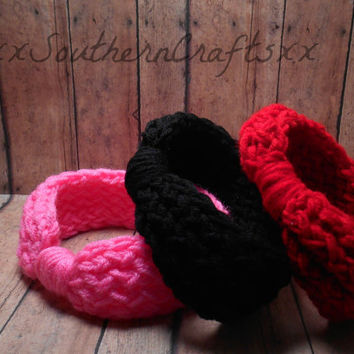 Winter Baby Headwrap Set, Knit Ear Warmer, 0-12 Month Sizing Options, Black Red and Pink,