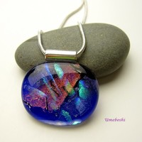 Whispering Winds Oval Dichroic Fused Glass Handmade Jewelry Pendant