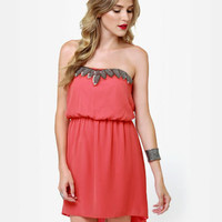 Cute Coral Dress - Strapless Dress - Beaded Dress - $47.00