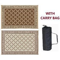 Reversible RV Patio Outdoor Mat Camping Rug with Carry Bag Brown & Beige 9` X 12` Garden Mat 119127