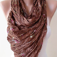ON SALE - Brown and Silky Scarf - Embroidered Fabric
