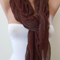 Brown Scarf - Seamless Tulle Fabric -
