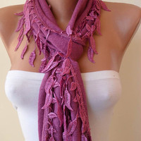 Purple Scarf with Trim Edge Shaped Leaves - Autumn Design