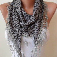 Grey Leopard Scarf with Trim Edge - Triangular
