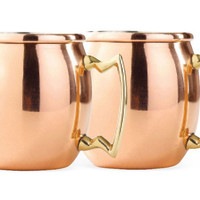 Solid Copper Shot Mules, 2 Oz, Set of 4, Moscow Mule Mugs