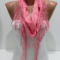 Pink Shawl/ Scarf  Headband - Cowl with Trim Edge- Summer Trends