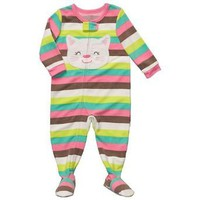 Carter`s Striped Fleece Kitty Footed Pajamas 12-18 Months (6 months)
