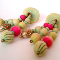 vintage clay-look tribal clip on earrings - funky and unusual big dangly clips with seafoam and pink wooden and metal patina beads