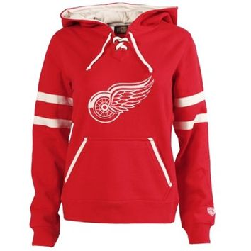 Detroit Red Wings Old Time Hockey Women's Grant Lace-Up Slim Fit Hoodie - Red