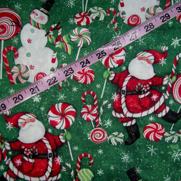 Christmas fabric with Santa Claus snowman lollipop suckers snowman cotton quilt quilting sewing material to sew by the yard 1yd