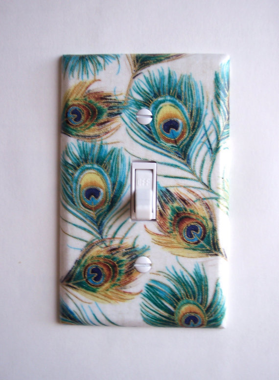 Peacock Feather Single Toggle Switchplate Switch Plate