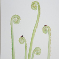 Nature Art, Watercolor Botanical Painting, Fiddlehead Ferns and Ladybugs Painting, Original Watercolor Painting