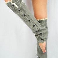 LACE Leg Warmers Gray boot lace socks button slouchy girly style for women teens