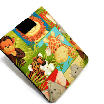 """Hand Crafted Tablet Case from Animal Print Fabric/ Tablet Case For  Kindle Fire HD """" ,i Pad Mini,Nook HD 7, Samsung Galaxy 7"""