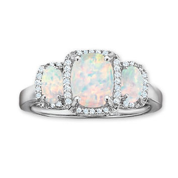 Cushion-Cut Lab-Created Opal Three Stone Ring with Diamond Accents in 14K White Gold