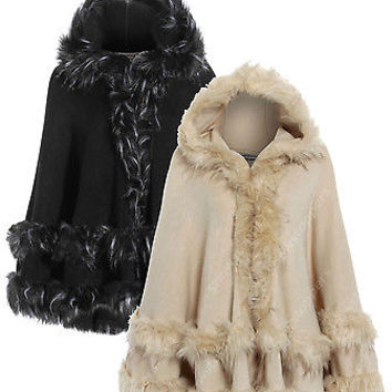 NEW Ladies BLACK DOUBLE FAUX FUR CAPES WARM PONCHO HOODED CAPE Jacket All Sizes