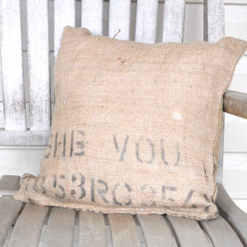 Upcycled burlap coffee bean bag pillow-One of a kind