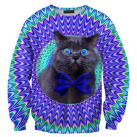 Psychedelic Trippy Kitty Cat Face Graphic Print Unisex Pullover Sweatshirt Sweater in Blue | Gifts for Cat Lovers