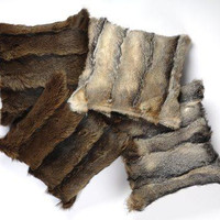 Fox Fur Throw Pillows - Natural Light Brown